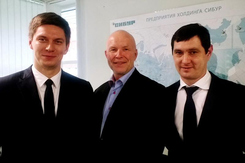 Picture of responsible persons from SIBUR/Norner: From left - Kirill Maksimov, Director Chemicals Procurement at SIBUR, Lars H. Evensen, Business Development Manager at Norner, Vadim Gayfiev, Head of Technical Support at SIBUR.